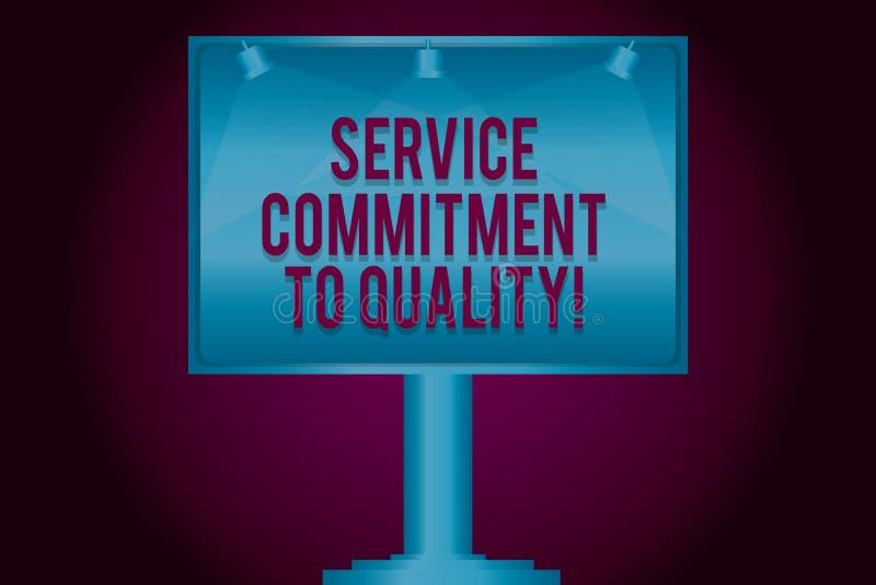 Signe des textes montrant l'engagement de service à la qualité Lampe vide aide de haute qualité conceptuelle de photo d'excellent illustration stock
