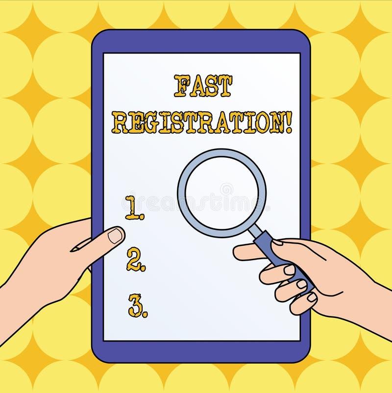 Signe des textes montrant l'enregistrement rapide Méthode rapide de photo conceptuelle d'écrire certaine information dans des mai illustration libre de droits