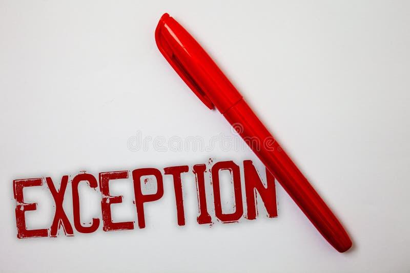Signe des textes montrant l'exception Personne conceptuelle ou chose de photo qui sont exclues de la spl différente de messages d photographie stock