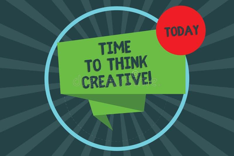 Signe des textes montrant l'heure de penser créatif Idées originales de créativité conceptuelle de photo pensant 3D plié par insp illustration de vecteur
