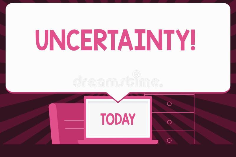 Signe des textes montrant l'incertitude L'imprévisibilité conceptuelle de photo de certain comportement d'événements de situation illustration stock