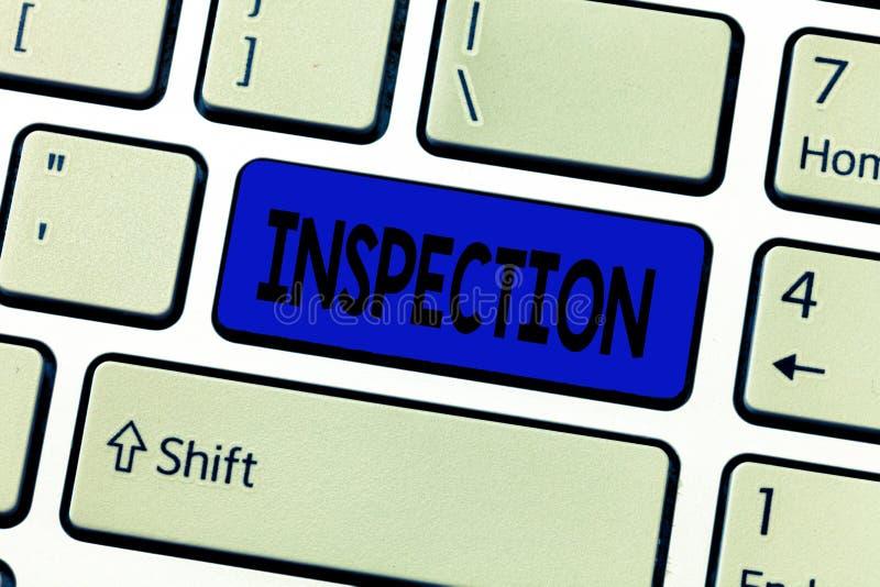Signe des textes montrant l'inspection Évaluation soigneuse d'examen d'enquête d'examen ou d'examen minutieux de photo conceptuel image libre de droits