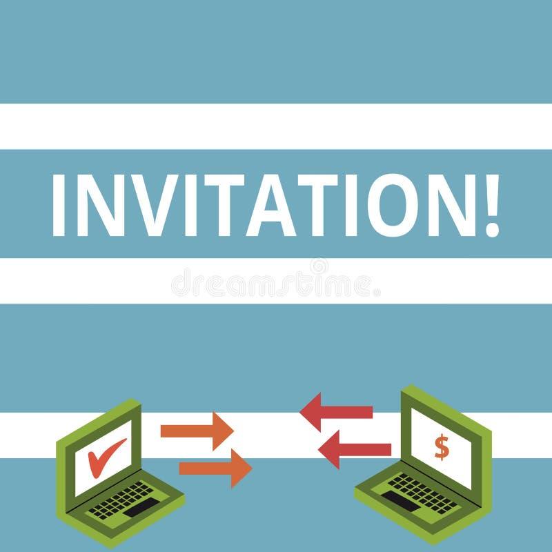 Signe des textes montrant l'invitation Demande écrite ou verbale de photo conceptuelle quelqu'un d'aller quelque part ou de faire illustration de vecteur