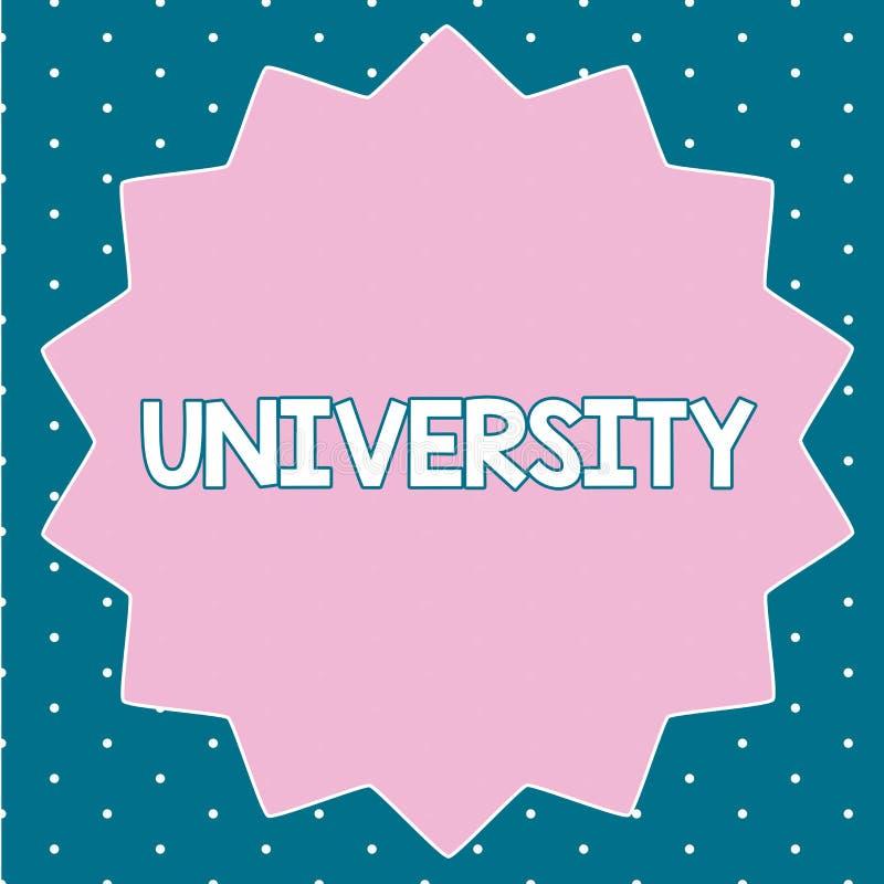 Signe des textes montrant l'université Les étudiants de haut niveau d'établissement d'enseignement de photo conceptuelle étudient illustration de vecteur