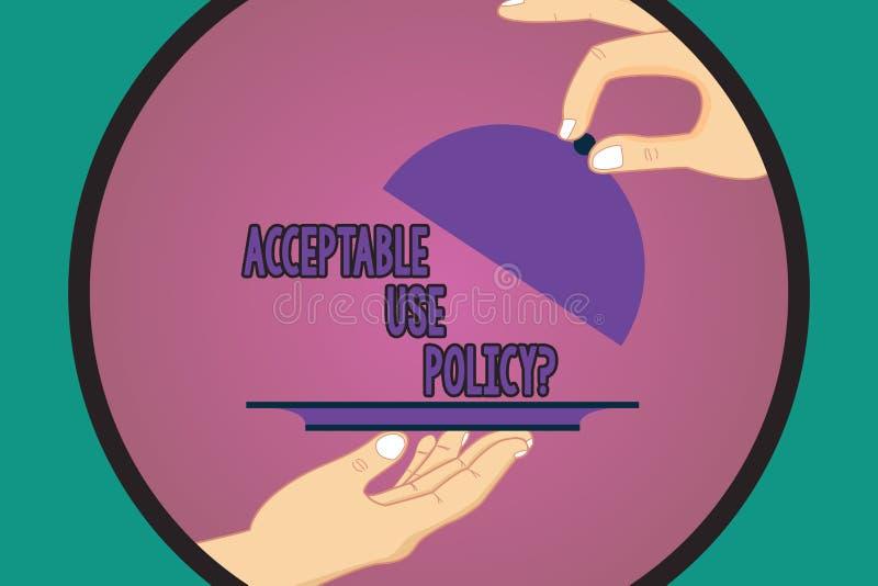 Signe des textes montrant l'utilisation acceptable Policyquestion Ensemble de photo de règles conceptuel appliquées par le propri illustration de vecteur