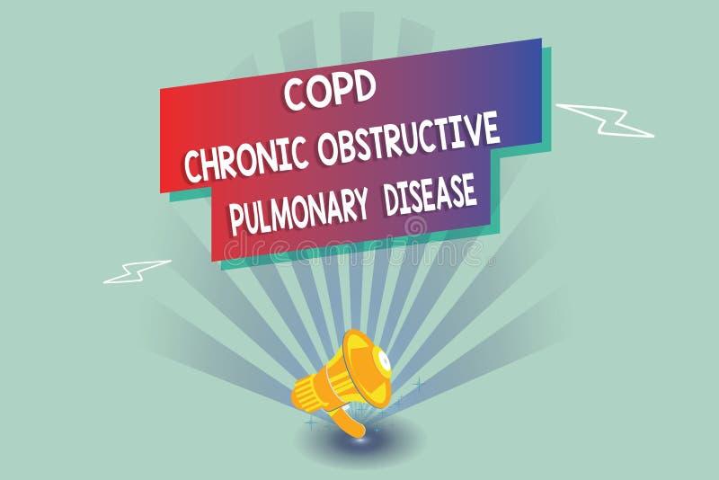 Signe des textes montrant la bronchopneumopathie chronique obstructive de Copd Difficulté conceptuelle d'affection pulmonaire de  illustration de vecteur