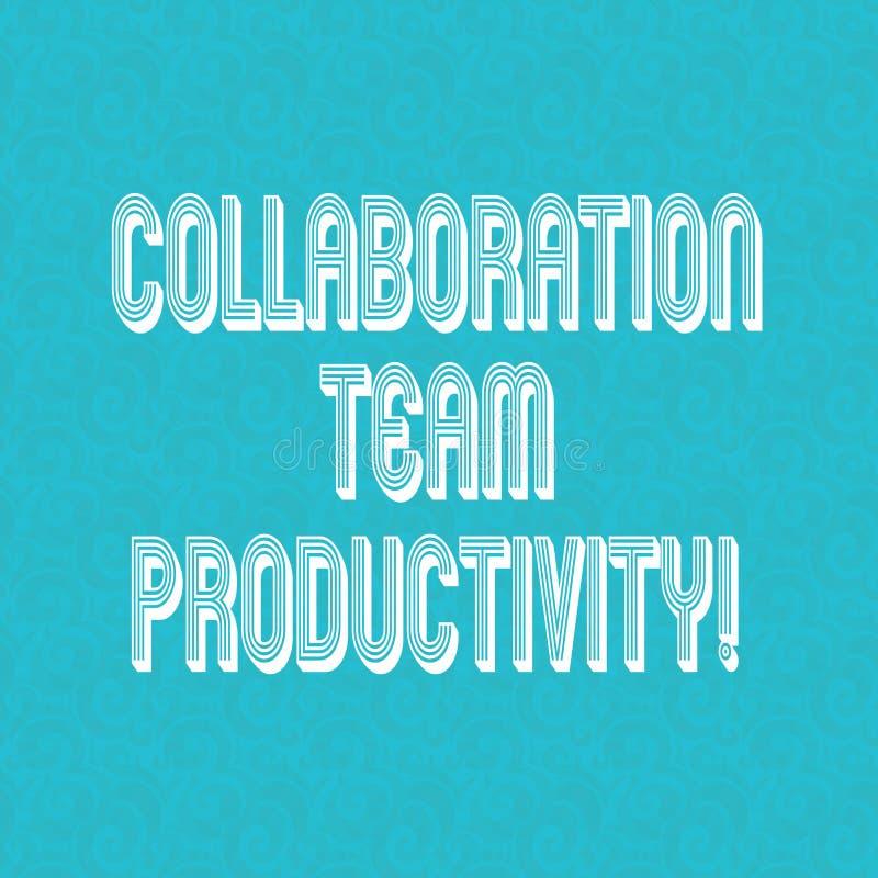 Signe des textes montrant la collaboration Team Productivity Buts conceptuels d'équipe d'ensemble de photo pour atteindre l'image illustration libre de droits