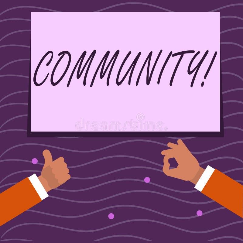 Signe des textes montrant la Communauté Groupe conceptuel deux d'unité d'Alliance d'affiliation d'état d'association de quartier  illustration stock