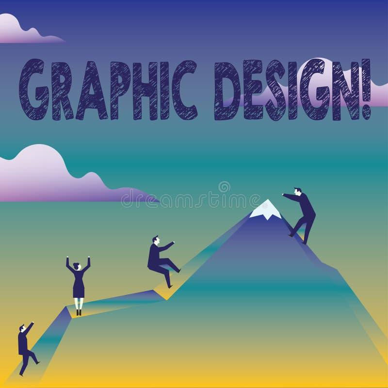 Signe des textes montrant la conception graphique Art conceptuel de photo de combiner des images des textes en annonçant s'élever illustration stock