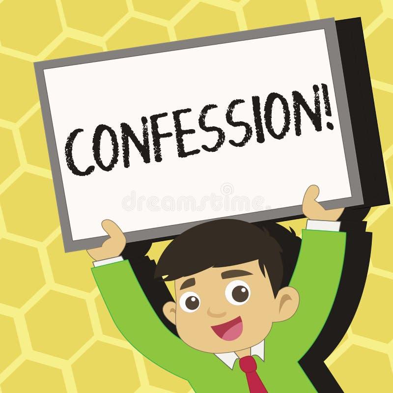 Signe des textes montrant la confession Jeunes conceptuels d'affirmation d'expression de Divulgence de révélation de révélation d illustration libre de droits