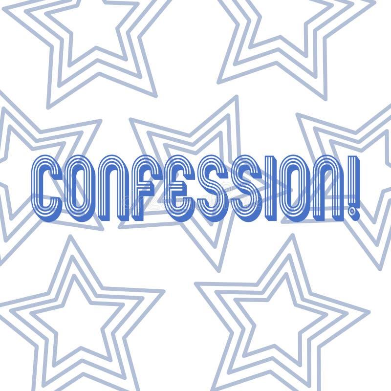 Signe des textes montrant la confession Répétition conceptuelle d'affirmation d'expression de Divulgence de révélation de révélat illustration libre de droits