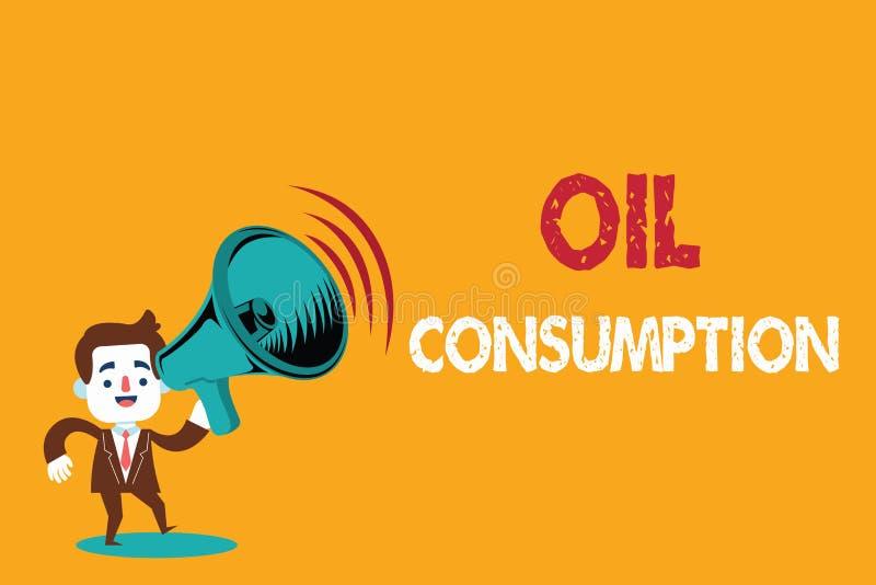 Signe des textes montrant la consommation pétrolière La photo conceptuelle cette entrée est toute l'huile consommée dans les bari illustration de vecteur