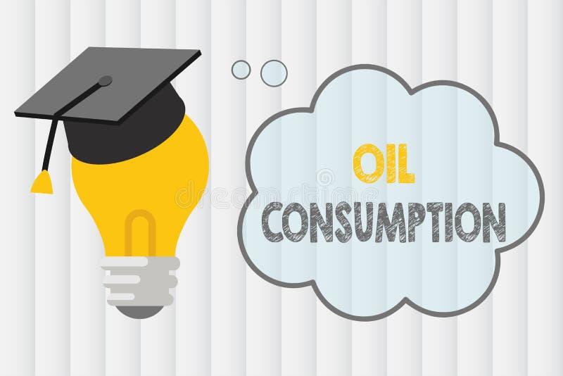 Signe des textes montrant la consommation pétrolière La photo conceptuelle cette entrée est toute l'huile consommée dans les bari illustration libre de droits