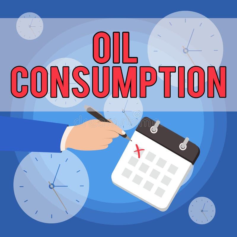 Signe des textes montrant la consommation p?troli?re La photo conceptuelle cette entrée est toute l'huile consommée dans les bari illustration de vecteur