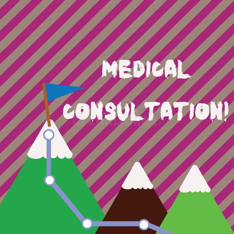 Signe des textes montrant la consultation médicale Photo conceptuelle un rendu de l'avis médical ou de l'opinion professionnell illustration libre de droits