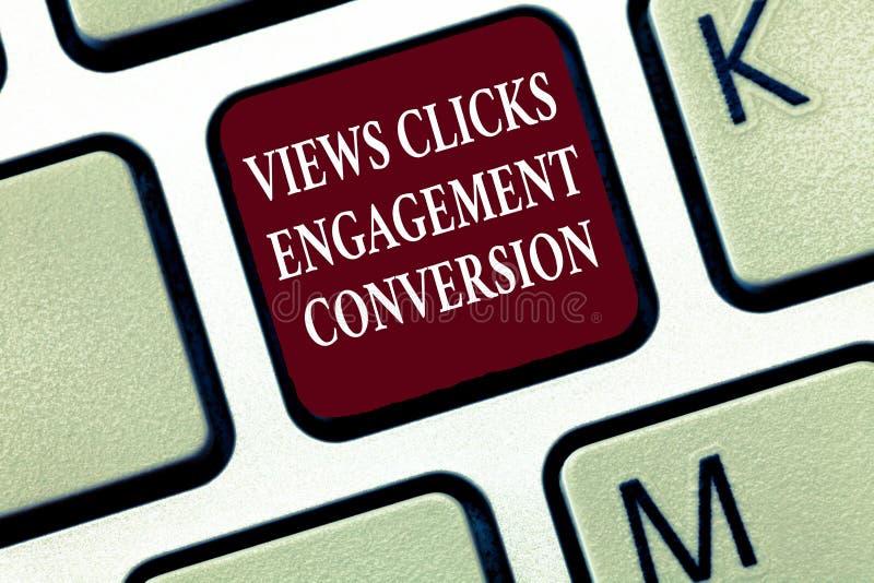 Signe des textes montrant la conversion d'engagement de clics de vues Optimisation sociale de plate-forme de media de photo conce photo libre de droits