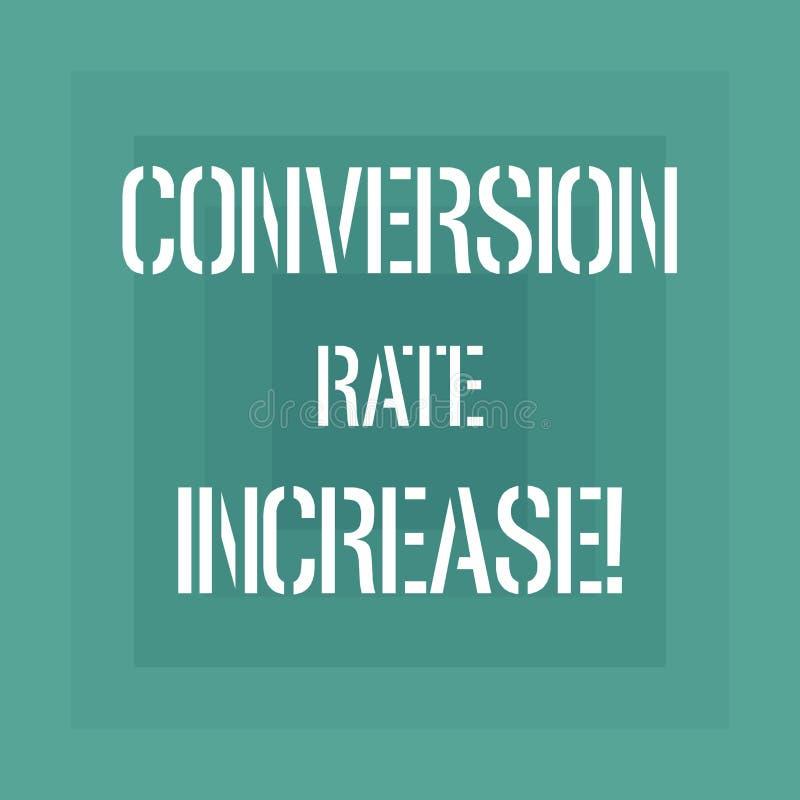 Signe des textes montrant la conversion Rate Increase Pourcentage conceptuel de photo des utilisateurs qui prennent à une action  illustration de vecteur