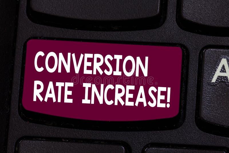 Signe des textes montrant la conversion Rate Increase Pourcentage conceptuel de photo des utilisateurs qui prennent une intention illustration stock