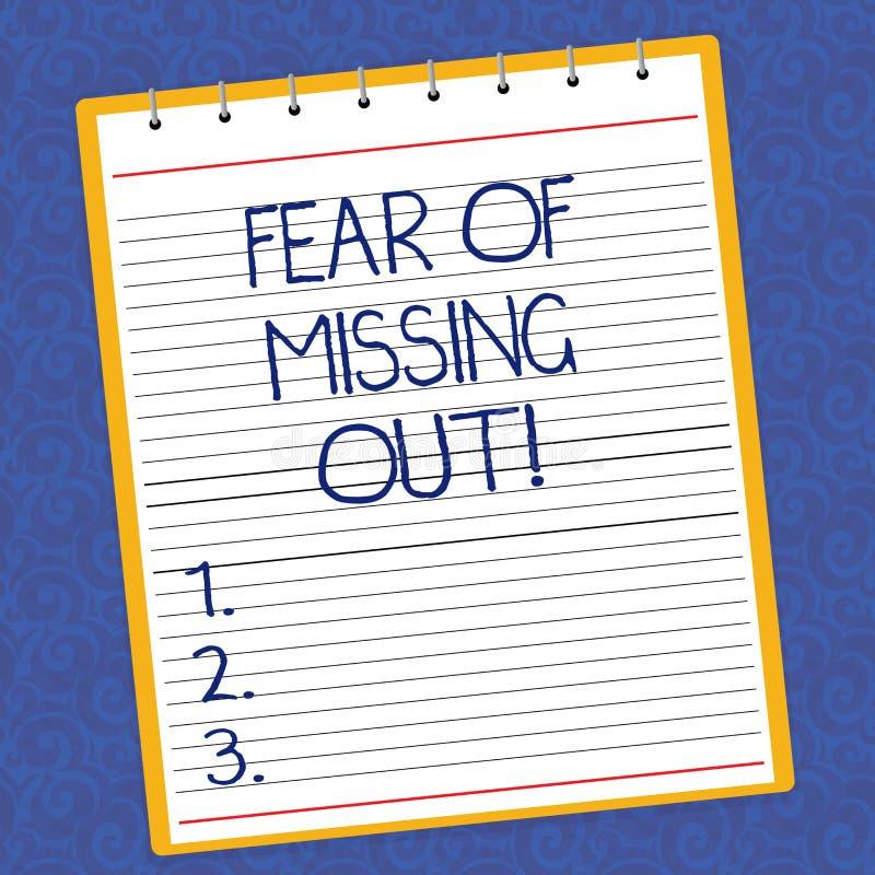 Signe des textes montrant la crainte de manquer  E illustration de vecteur