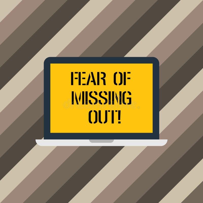 Signe des textes montrant la crainte de manquer  Photo conceptuelle effrayée de perdre quelque chose ou quelqu'un moniteur soumis illustration stock