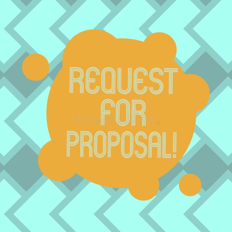 Signe des textes montrant la demande de proposition Document conceptuel de photo qui sollicite la proposition faite par un blanc  illustration stock