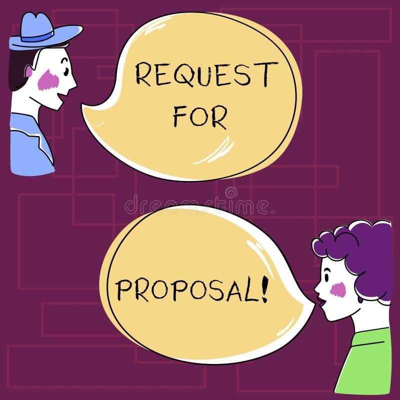 Signe des textes montrant la demande de proposition Document conceptuel de photo qui sollicite la proposition faite par une main  illustration stock