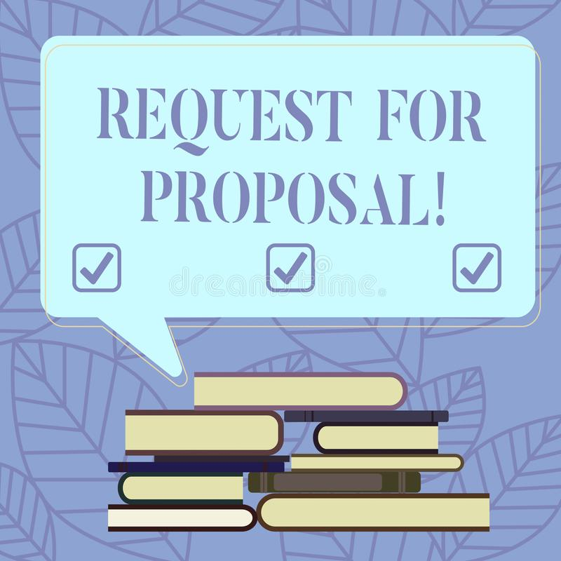 Signe des textes montrant la demande de proposition Document conceptuel de photo qui sollicite la proposition rendue par une offr illustration libre de droits