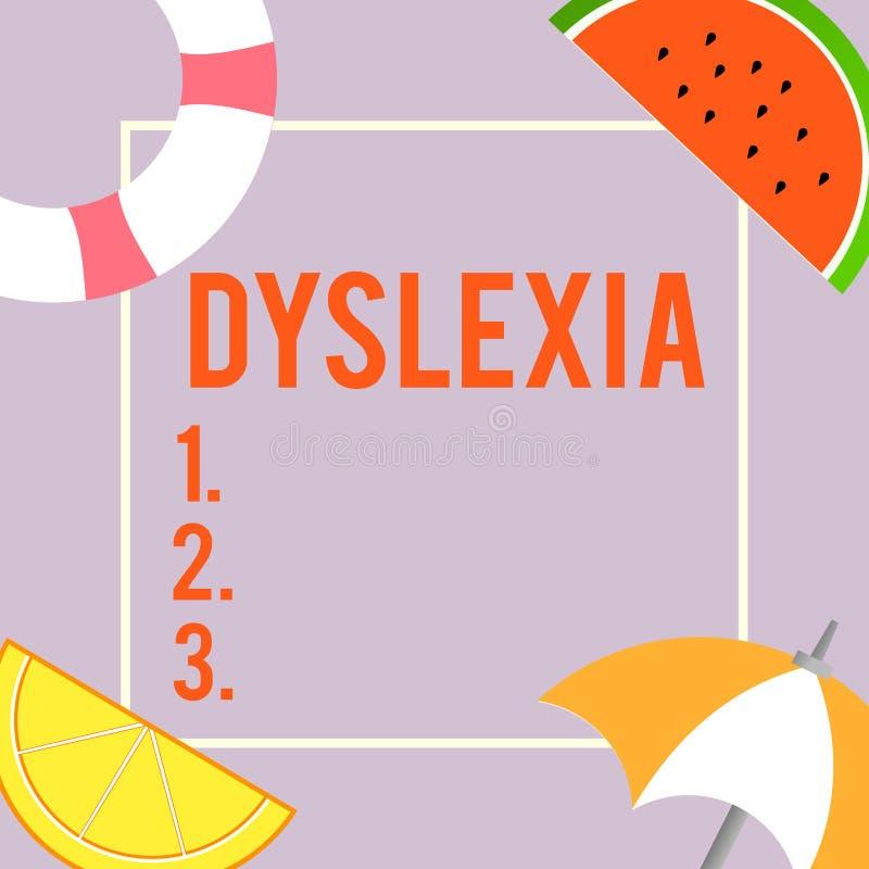 Signe des textes montrant la dyslexie Désordres conceptuels de photo qui impliquent la difficulté dans l'étude pour lire et s'amé illustration libre de droits