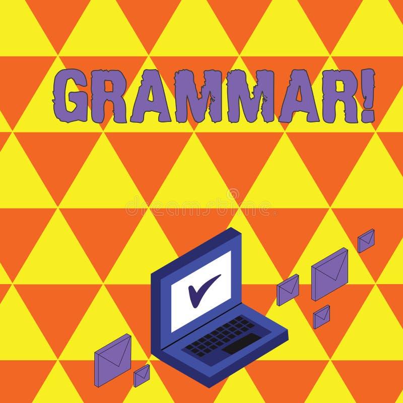 Signe des textes montrant la grammaire Enveloppes entières de courrier de couleur de syntaxe et de morphologie de langue de struc illustration libre de droits