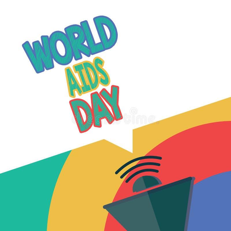 Signe des textes montrant la Journée mondiale contre le SIDA La photo 1er décembre conceptuel a consacré à soulever la conscience photos libres de droits
