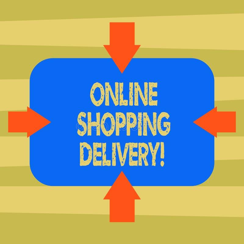 Signe des textes montrant la livraison de achat en ligne Processus conceptuel de photo d'embarquer un article des flèches en lign illustration stock