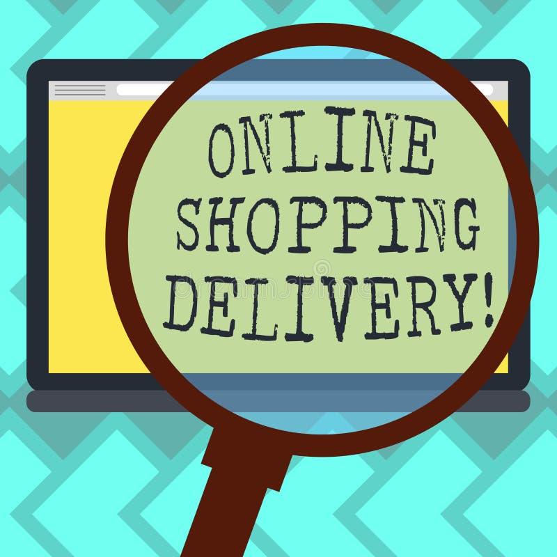 Signe des textes montrant la livraison de achat en ligne Processus conceptuel de photo d'embarquer un article de l'achat en ligne illustration de vecteur