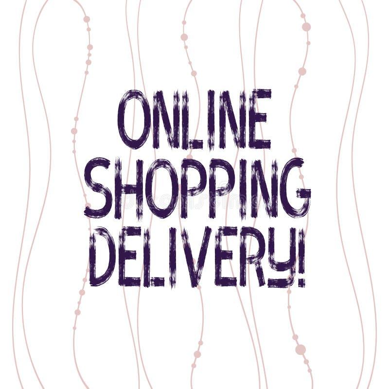 Signe des textes montrant la livraison de achat en ligne Processus conceptuel de photo d'embarquer un article de verticale en lig illustration libre de droits