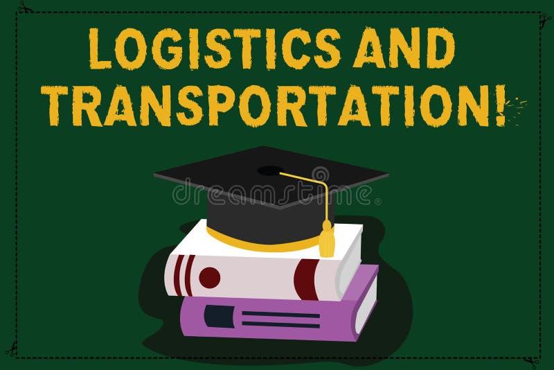 Signe des textes montrant la logistique et le transport Photo conceptuelle livrant des marchandises des fournisseurs à la couleur illustration stock