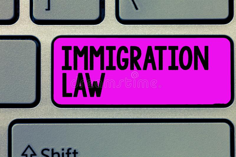 Signe des textes montrant la loi d'immigration L'émigration conceptuelle de photo d'un citoyen sera légale dans la fabrication du photos libres de droits