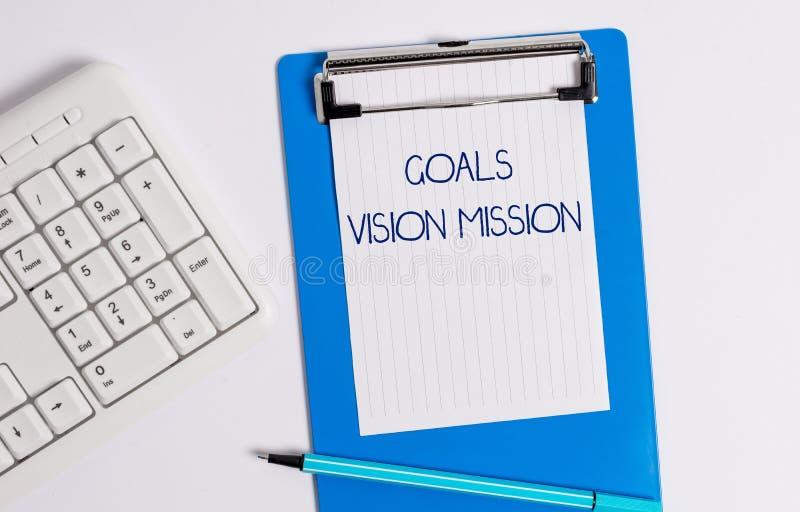 Signe des textes montrant la mission de vision de buts Processus de planification pratique de photo conceptuelle employé pour aid photographie stock libre de droits