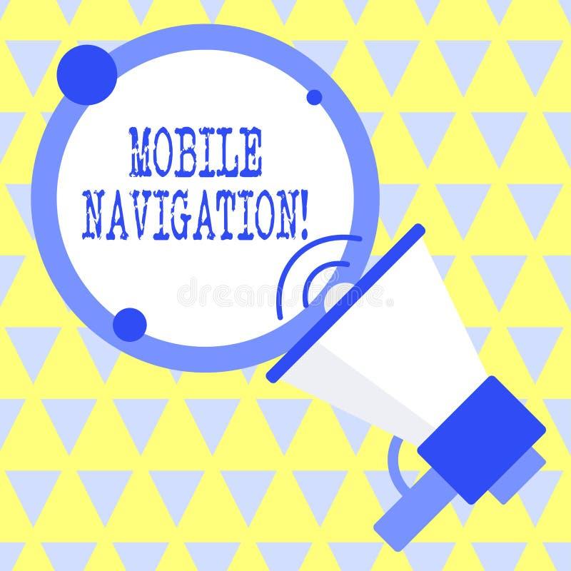 Signe des textes montrant la navigation mobile Interface utilisateur graphique conceptuelle de photo employ?e pour faciliter le c illustration libre de droits