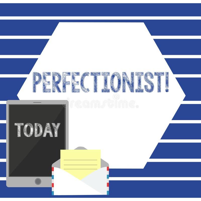 Signe des textes montrant la personne conceptuelle perfectionniste de photo qui veut que tout soit des niveaux les plus élevés pa illustration stock