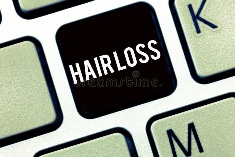 Signe des textes montrant la perte des cheveux Perte conceptuelle de photo de cheveux de huanalysis du chef ou de toute partie du image libre de droits