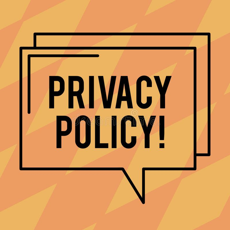 Signe des textes montrant la politique de confidentialité Contour rectangulaire de photo de document de protection des données co illustration stock