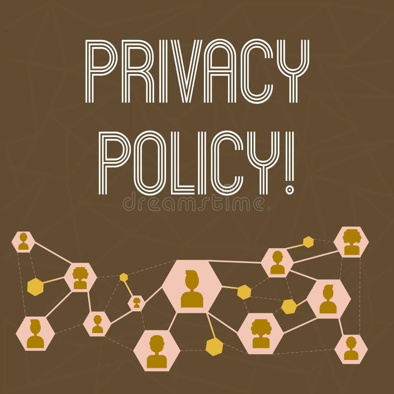 Signe des textes montrant la politique de confidentialité Protection des données confidentielle de photo de protection des donnée illustration libre de droits