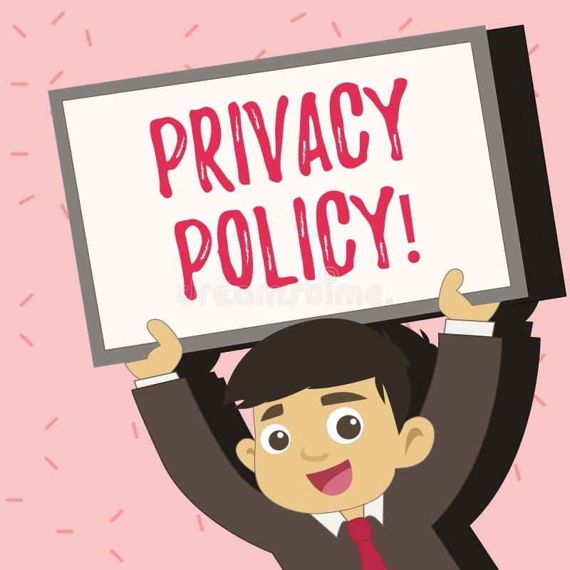 Signe des textes montrant la politique de confidentialité Protection des données confidentielle de photo de protection des donnée illustration de vecteur