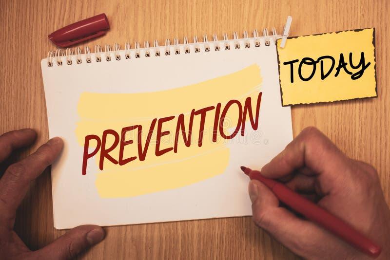 Signe des textes montrant la prévention Photos conceptuelles arrêtant quelque chose des soins de santé de événement ProtectionMan images libres de droits