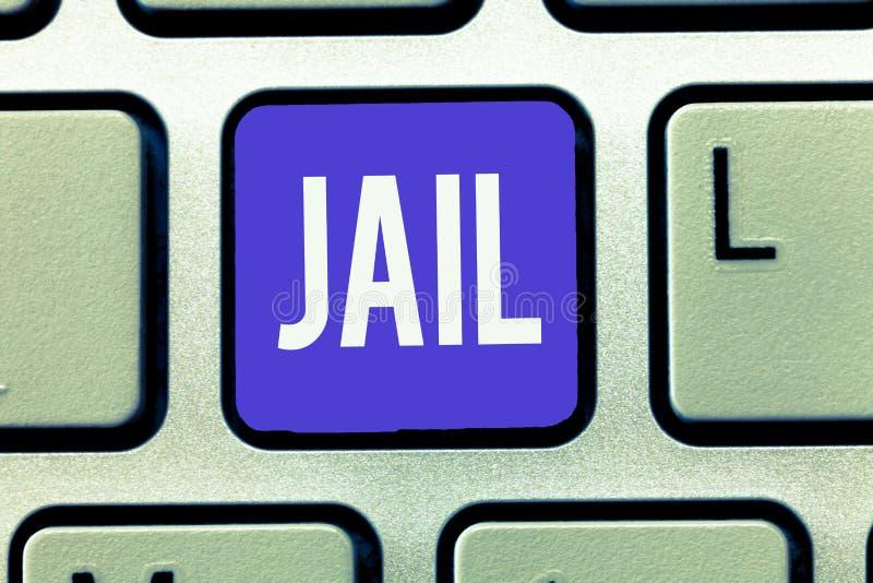 Signe des textes montrant la prison Endroit conceptuel de photo pour l'emprisonnement des personnes accusées et condamnées d'un c photographie stock libre de droits