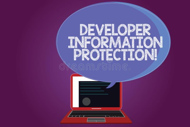 Signe des textes montrant la protection de l'information de promoteur L'information importante de sauvegarde conceptuelle de phot illustration stock