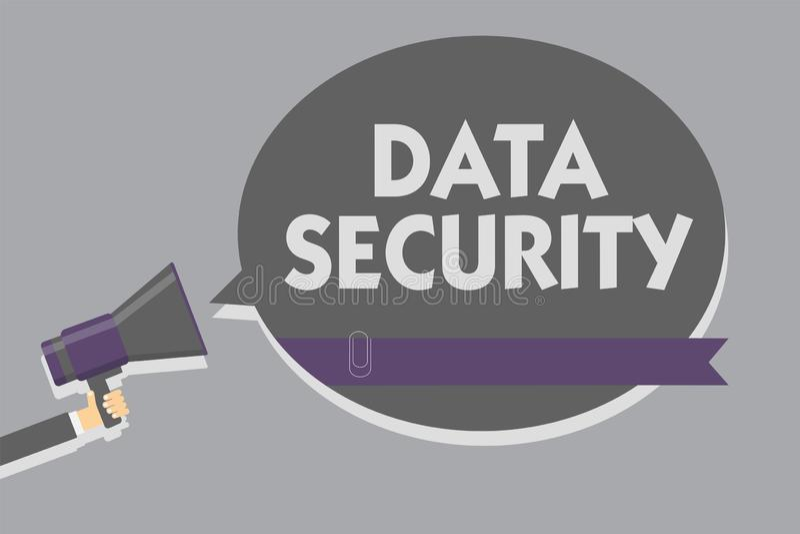 Signe des textes montrant la protection des données Mot de passe conceptuel de supports de chiffrage de disque de confidentialité illustration stock