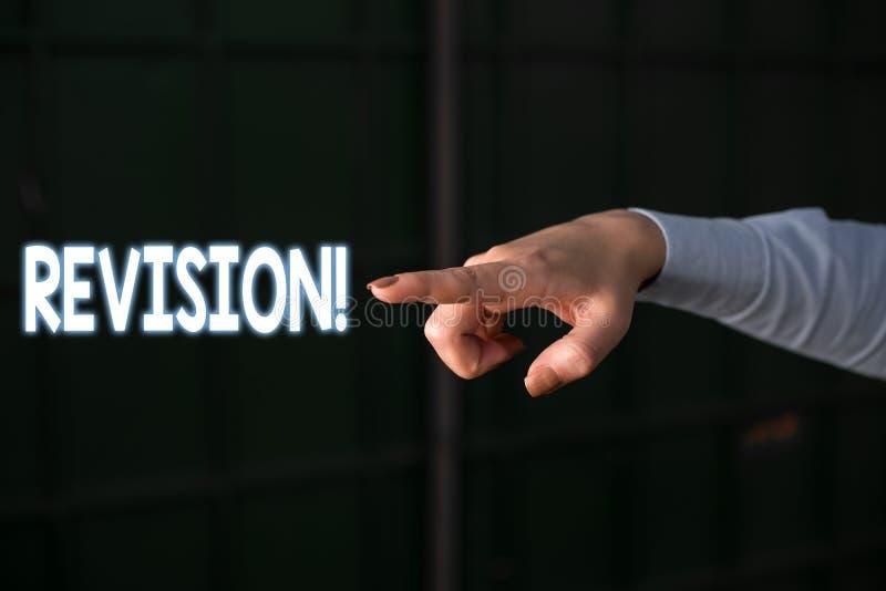 Signe des textes montrant la r?vision Action conceptuelle de photo de la révision au-dessus de quelqu'un comme l'indication par l images stock