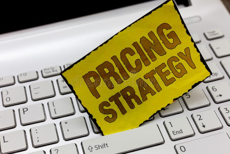 Signe des textes montrant la stratégie d'évaluation L'ensemble conceptuel de photo maximisent la rentabilité pour l'unité vendue  photographie stock libre de droits