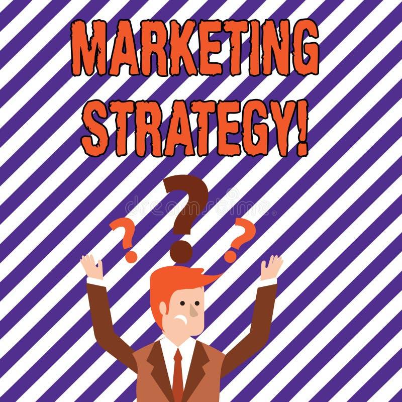 Signe des textes montrant la stratégie marketing Organisation pour la recherche conceptuelle de créativité de formule de plan de  illustration libre de droits