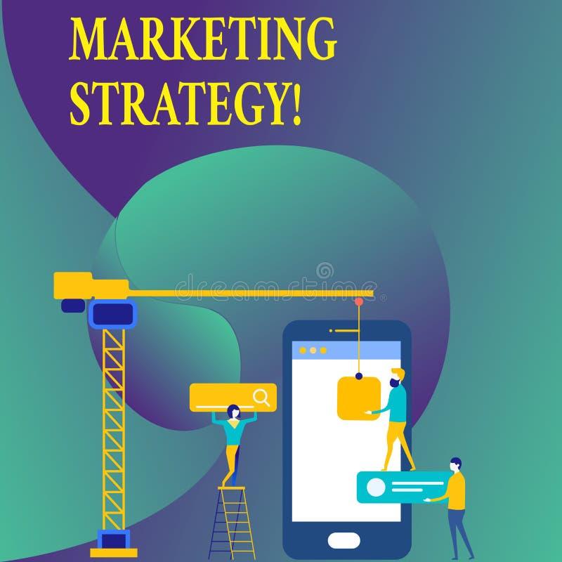 Signe des textes montrant la stratégie marketing Organisation pour la recherche conceptuelle de créativité de formule de plan de  illustration de vecteur